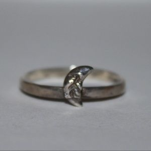 Happy Moon sterling silver ring